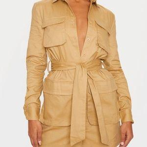 NEW PLT Camel Utility Tie Waist Dress 2/XS